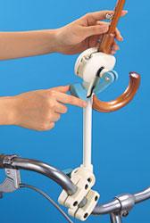 サイクル傘スタンド ママの木かげ 自転車に 日傘、雨傘を付けられます。付け外しがワンタッチ!