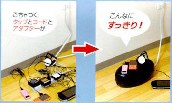すっきり収納タップボックス ごちゃごちゃしている電源タップ、コード、アダプターをスッキリ収納