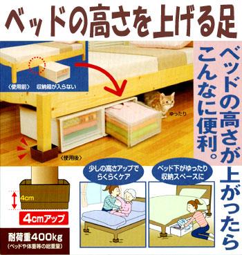 ベッドの高さを上げる足 ベッドの下に収納ボックスが入れられます。