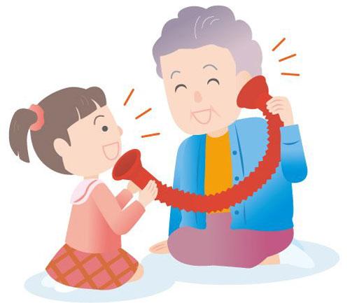 もしもしフォン 耳の遠いお年寄りと内緒話 大声を出さなくてもお話ができます。